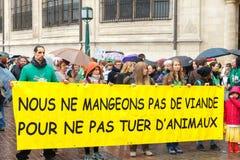 Paris. Demonstration of vegetarians. Royalty Free Stock Image