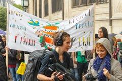 Paris. Demonstration of vegetarians. Stock Images