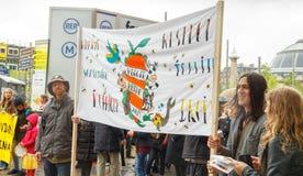 Paris. Demonstration of vegetarians. Royalty Free Stock Photo