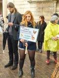 Paris. Demonstration of vegetarians. Royalty Free Stock Photos