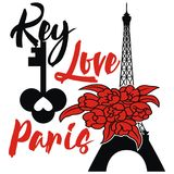 Paris Design  Eiffel tower with  key and flower. Simple design paris eiffel tower with red flower and use this image for you backgroud, card, book, wall, profile Royalty Free Stock Photo