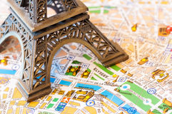 Paris detailed map. Travel concept - detailed map of Paris with a part of eiffel tower royalty free stock image