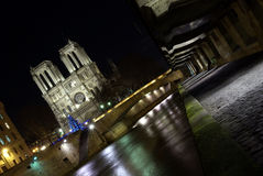 Paris docks with Notre-Dame cathedral Stock Photo