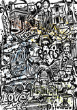 Paris Doodle. Handdrawing Doodle, created on paper stock illustration