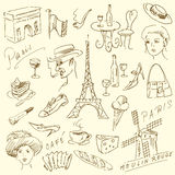 Paris doodles. Hand drawn collection Royalty Free Stock Images