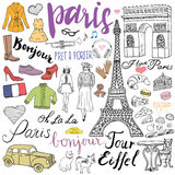 Paris doodles elements. Hand drawn set with eiffel tower bred cafe, taxi triumf arch, fashion elements, cat and french bulldog. Dr Royalty Free Stock Image