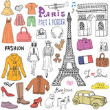 Paris doodles elements. Hand drawn set with eiffel tower, taxi triumf arch, models and facion elements, cat and french bulldog. Dr Royalty Free Stock Photos