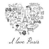 Paris doodles elements. Hand drawn set withefel tower bred cafe flowers and bicycle. Drawing doodle collection, in heart shape, is Stock Images