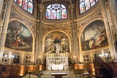 PARIS EGLISE-HELGON EUSTACHE Februari 2018 Inre av kapellet av oskulden, på kyrkan av helgonet Eustache i Paris royaltyfri bild
