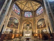 PARIS EGLISE-HELGON EUSTACHE Februari 2018 Inre av kapellet av oskulden, på kyrkan av helgonet Eustache i Paris Arkivfoton