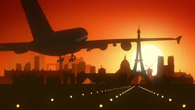 Paris Eiffel Airplane France Travel Background Stock Photos