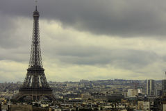Paris, Eiffel and a cityscape on a cloudy day Royalty Free Stock Image