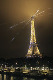 Paris, Eiffel and a cityscape on a cloudy night Stock Photography