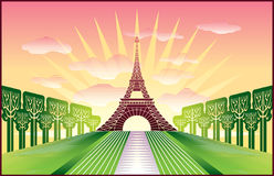 Paris Eiffel Tower. Landscape with Paris Eiffel Tower illustration in original style vector illustration