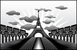 Paris Eiffel Tower. Landscape with Paris Eiffel Tower illustration in original style royalty free illustration
