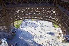 Paris Eiffel Tower from above people stock images