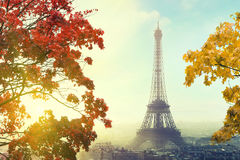 Paris with Eiffel tower in autumn time royalty free stock photos