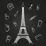 Paris Eiffel tower and beauty cosmetics Royalty Free Stock Photos