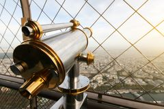 Paris Eiffel Tower binoculars royalty free stock photography