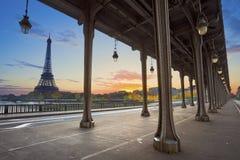 Paris. Eiffel Tower and Bir Hakeim Bridge in Paris, France during sunrise stock photo