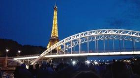 Paris eiffel tower + bridge. Photo taken from the seine, eiffel tower Royalty Free Stock Image