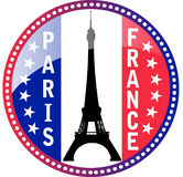 Paris and Eiffel tower button stock illustration