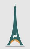 Paris Eiffel tower with cartoon face. Eiffel tower as soldier character. Bombs instead teeth. France armored response. Anti terrorism relative image. Angry Stock Photos