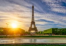 Paris Eiffel Tower and Champ de Mars in Paris, France royalty free stock photography