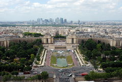 Paris from the Eiffel Tower. View from Eiffel tower on old and modern quarters of Paris Stock Photography