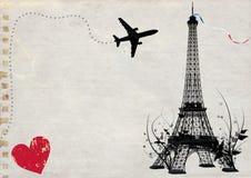 Paris eiffel tower empty card. Paris eiffel tower travel empty card illustration Royalty Free Stock Photos