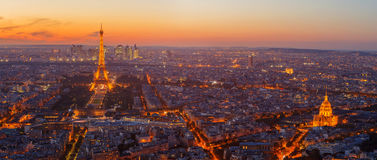 Paris, Eiffel tower, at evening sunset blue hour. View from Montparnasse Royalty Free Stock Photo