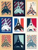 Paris, Eiffel tower, France, Art Deco style posters, travel postcards. Paris, Eiffel tower, France, Retro Vintage Posters templates, Art Deco style posters Royalty Free Stock Photography
