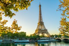 Paris Eiffel Tower, France. During summer royalty free stock photo
