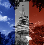 Paris Eiffel Tower french flag Royalty Free Stock Photography