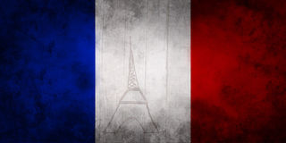 Paris Eiffel Tower on French flag colors blue white red vector illustration