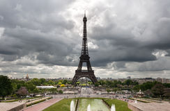 Paris, Eiffel Tower on a gloomy day Stock Images