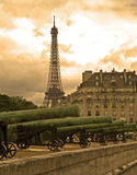 Paris - Eiffel tower and guns. For Ecole Militaire Stock Image
