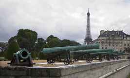 Paris - Eiffel tower and guns for Ecole Militaire. Building Royalty Free Stock Image