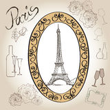 Paris eiffel tower illustration set. Love paris frame vintage collection. French cafe Royalty Free Stock Photo
