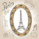 Paris eiffel tower illustration set. Love paris frame vintage collection. French cafe Royalty Free Stock Photo