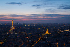 Paris Eiffel Tower and Invalides at night view from Montparnasse Stock Images