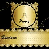 Paris with Eiffel tower lettering and drawing Royalty Free Stock Photography