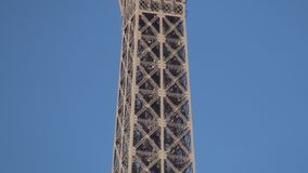 Paris Eiffel Tower Metallic Structure with Elevator Ascension for Tourists.  stock video