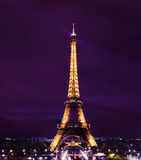 Paris Eiffel Tower at Night Stock Images