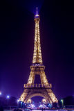 Paris Eiffel Tower by night. Purple light Stock Image