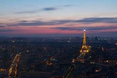 Paris Eiffel Tower at night view from Montparnasse Stock Photo