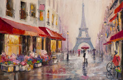 Paris - Eiffel Tower - Original oil painting on canvas - A pair of lovers under an umbrella - Modern Art Stock Image