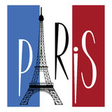 Paris. Eiffel tower over flag of france and text of paris