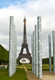 Paris, Eiffel Tower and Peace Monument Stock Photo