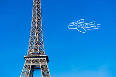 Paris Eiffel tower with plane drawing Stock Photos
